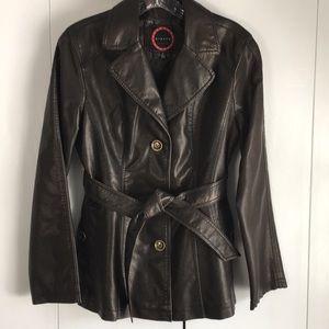 Vegan Leather Tie Waist Jacket, Burnished Brown, S